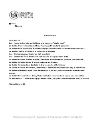 13. rassegna stampa 20 novembre 2014