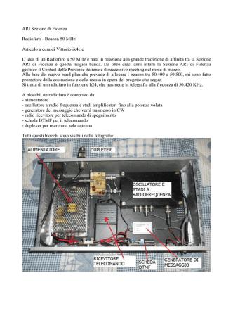 ARI Sezione di Fidenza Radiofaro - Beacon 50 MHz Articolo a cura