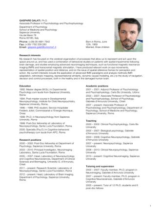 1 GASPARE GALATI, Ph.D. Associate Professor in