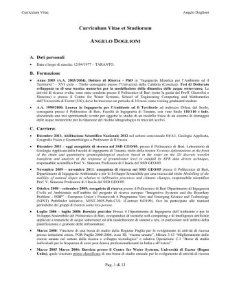 Curriculum Vitae et Studiorum - Università degli Studi del Sannio