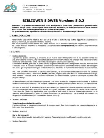 BIBLIOWIN 5.0WEB Versione 5.0.2