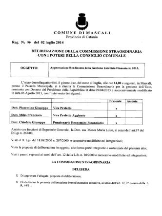 Approvazíone Rendiconto della Gestione Esercizio Finanziario 2013