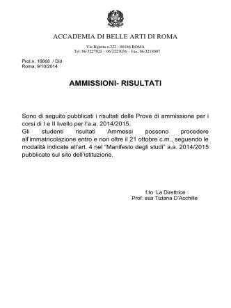 AMMISSIONI- RISULTATI - Accademia di Belle Arti di Roma