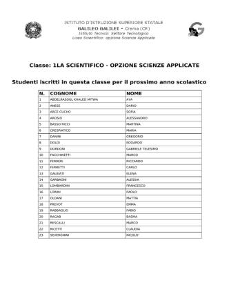 Classe: 1LA SCIENTIFICO - OPZIONE SCIENZE