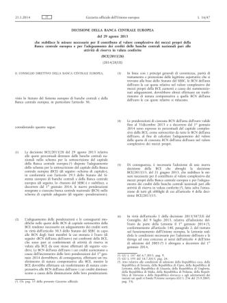 Decisione della Banca centrale europea, del 29 agosto 2013, che