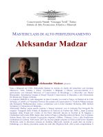 Aleksandar Madzar (Pianoforte) - Conservatorio Giuseppe Verdi