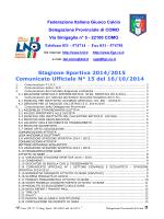 Comunicato ufficiale N.15