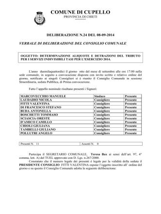 aliquote tasi 2014 - Comune di Cupello