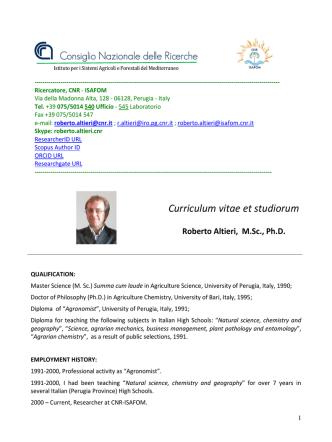 Curriculum vitae et studiorum of Roberto Altieri