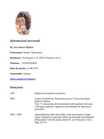 Curriculum Vitae Dott.ssa Matteri