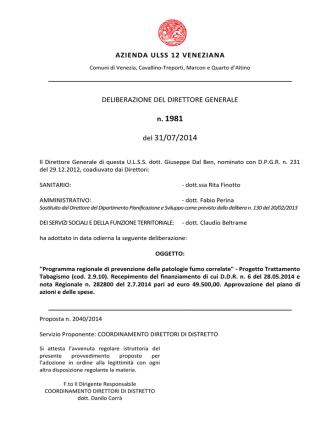 Deliberazione n. 1981 del 31 luglio 2014, ad oggetto