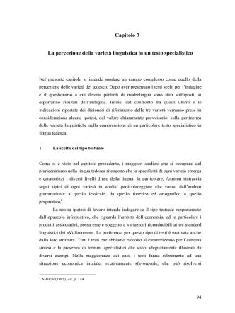 Capitolo 3 La percezione della varietà linguistica in un testo