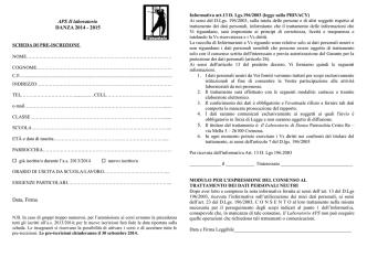APS Il laboratorio DANZA 2014 - 2015 Data, Firma