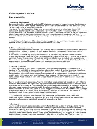 Condizioni generali di contratto Stato gennaio 2014. 1. Ambito di