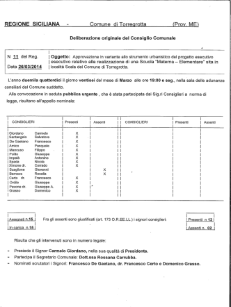 Deliberazione di Consiglio Comunale n. 11 del 26 marzo 2014
