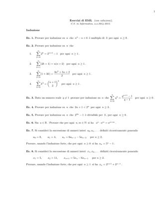 1 Esercizi di EML (con soluzioni), Induzione Es. 1. Provare per