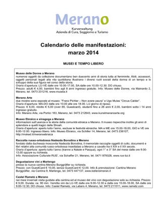 Calendario delle manifestazioni: marzo 2014