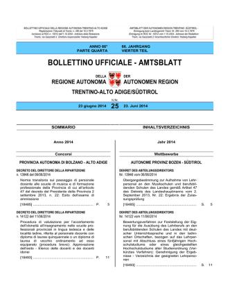 Bollettino n. 25 del 23 giugno 2014
