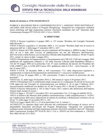 Bando di selezione n. ITM.ASS.010.2014.CS PUBBLICA - ITM-CNR