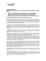 Il CdA approva la Relazione finanziaria al 30 Giugno 2014