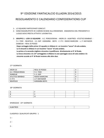 9^ edizione fantacalcio elladin 2014/2015 regolamento e calendario