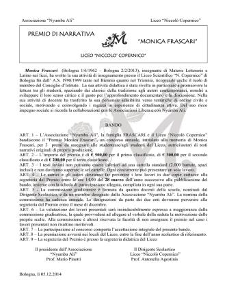 BANDO PREMIO DI NARRATIVA-FRASCARI
