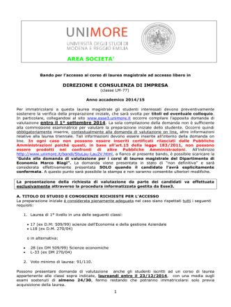 Bando DCI (pdf) - Università degli studi di Modena e Reggio Emilia