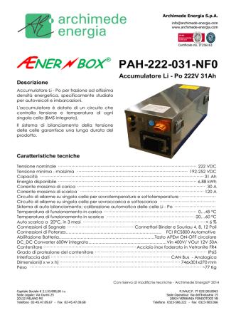 Accumulatore Li - Po 222V 31Ah