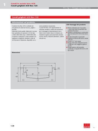 Canali grigliati ACO Box 125 Informazioni sul prodotto Canali in