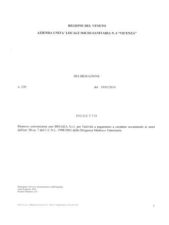 DELIBERAZIONE n.220 del 19/03/2014