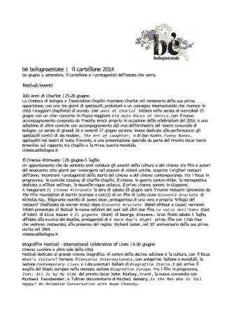 bè bolognaestate | il cartellone 2014