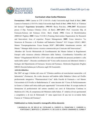 Corsi di Laurea della Classe LM-13 e L-29 - Farmacia