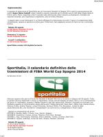 orari trasmissione su SportItalia (canale 153
