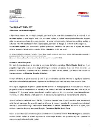 attività previste 2014 activities planned - Rad-Art