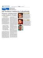 Sul Tfr Renzi «minaccia» Laborfonds
