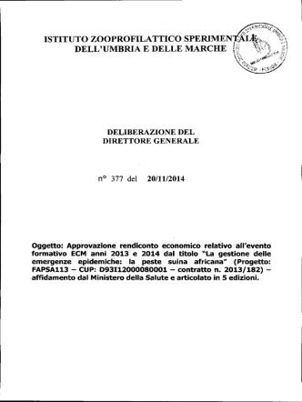 DELIBERAZIONE DEL DIRETTORE GENERALE n° 377 del 20/11