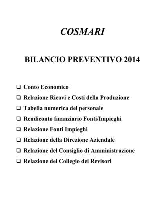 cosmari bilancio preventivo 2014
