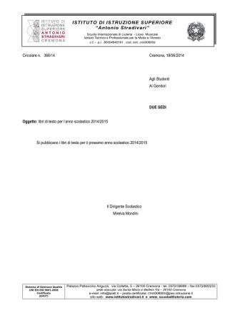 366 circ libri di testo 2014-2015