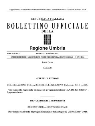 BUR Umbria - Serie generale n. 09 (supplemento straordinario)