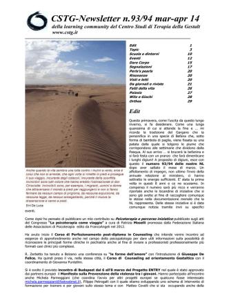CSTG-Newsletter n.93/94 mar-apr 14 - Centro Studi di Terapia della