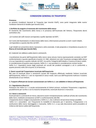 CONDIZIONI GENERALI DI TRASPORTO