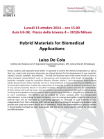 Hybrid Materials for Biomedical Applications Luisa De Cola