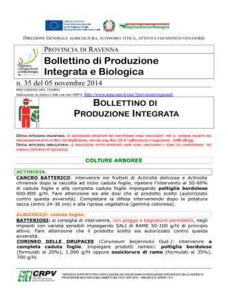 Bollettino tecnico n. 35 del 05 novembre 2014