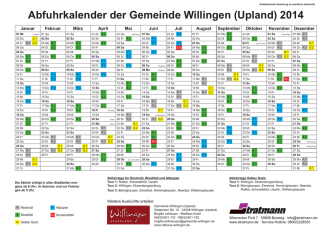Abfuhrkalender der Gemeinde Willingen (Upland) 2014