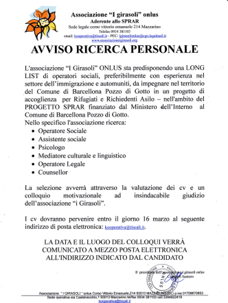 avviso ricerca personale - Comune di Barcellona Pozzo di Gotto