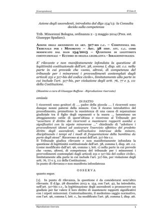 Azione degli ascendenti, introdotta dal dlgs 154/13: la