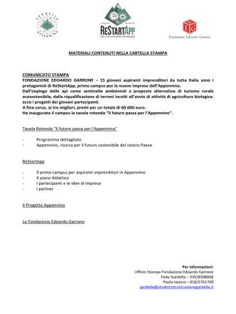 CAS RESTARTAPP 10 giugno_DEF - Fondazione Edoardo Garrone