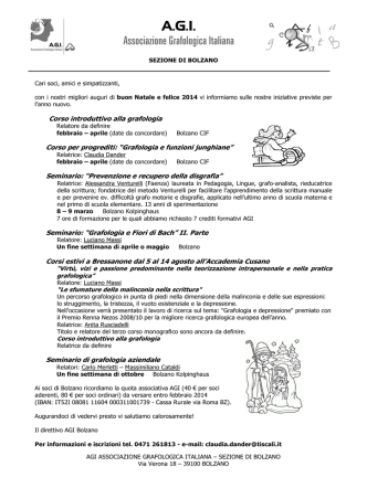 """Corso introduttivo alla grafologia Corso per progrediti: """"Grafologia e"""