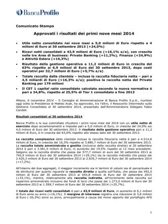 Approvati i risultati dei primi nove mesi 2014