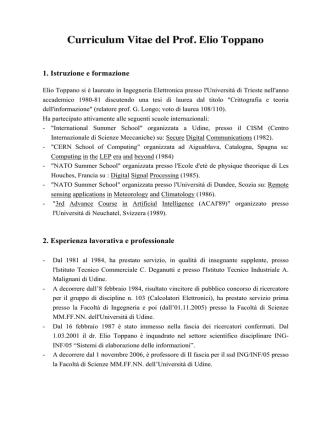 Curriculum Vitae del Prof. Elio Toppano